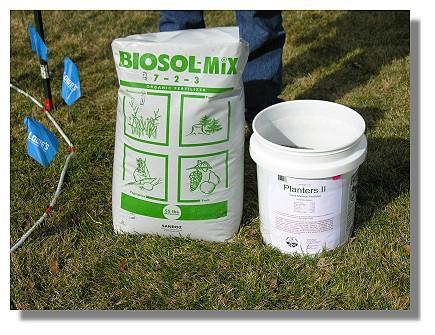 biosol forte 7-2-1 around the drip line.